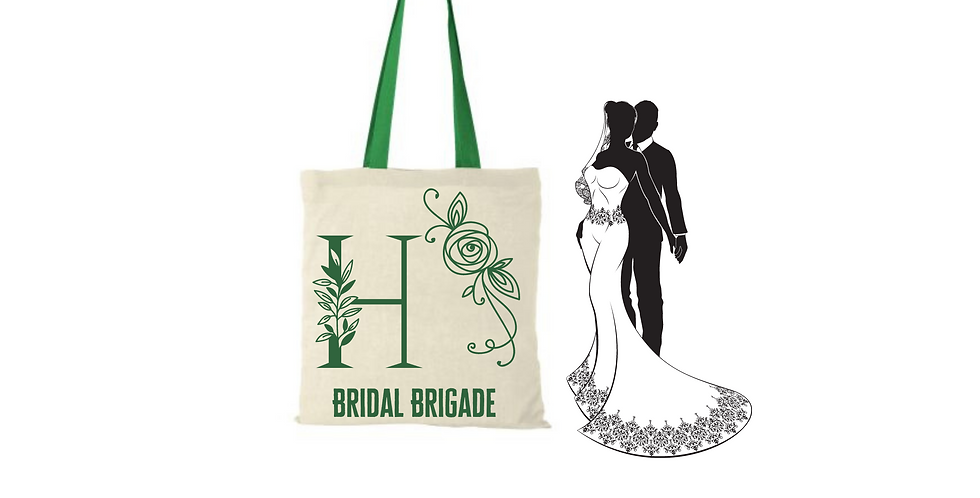 Floral Alphabet Any Letter Initial Personalised Bridal Brigade Tote Bag Foldable