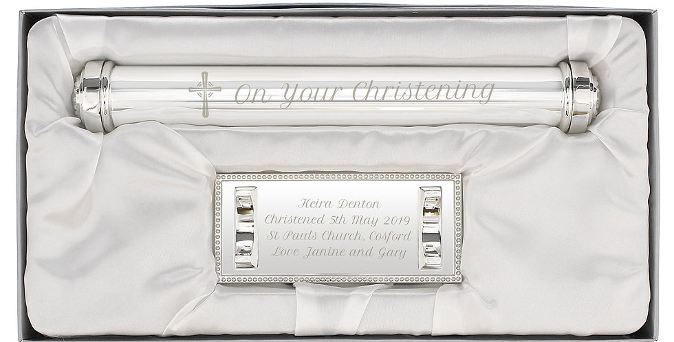 Personalised Christening Cross Silver Plated Certificate Holder