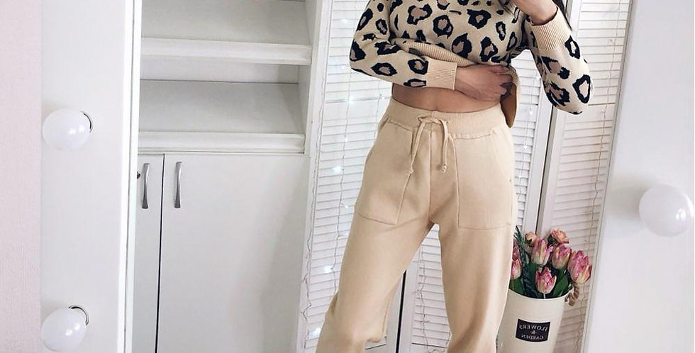 Sweatsuits Knitted Suits Leopard Long Sleeve
