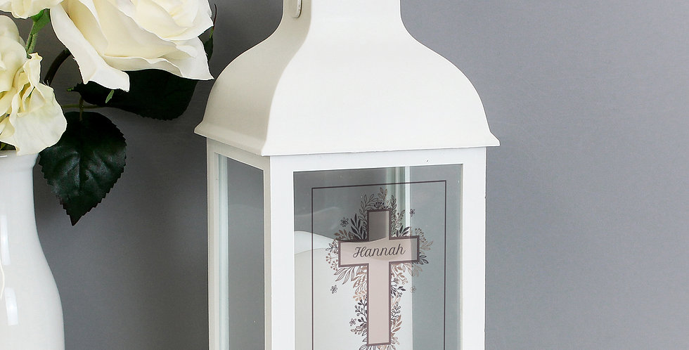 White Lantern Personalised Floral Cross