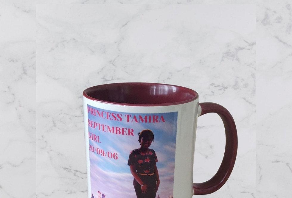 Personalised 11oz Coloured Interior And Handle Mug