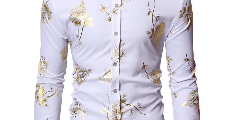 Floral Steampunk Chemise White Long Sleeve Shirt