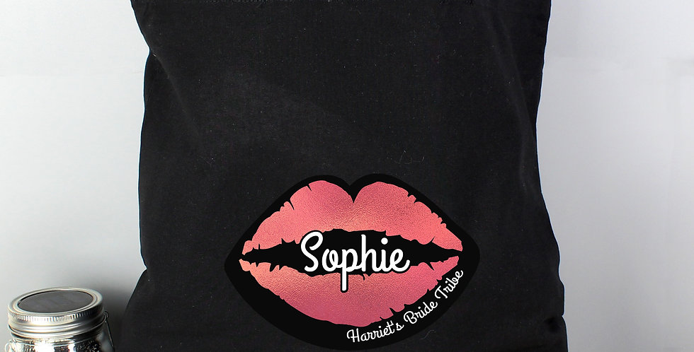 Black Cotton Bag Personalised Rose Gold Lips Hen Party