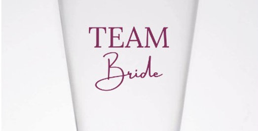 Personalised  Plastic Party Cups Team Bride  Set Of 8