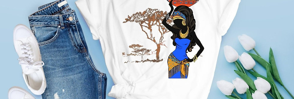 Beautiful Lady In Blue African Dress