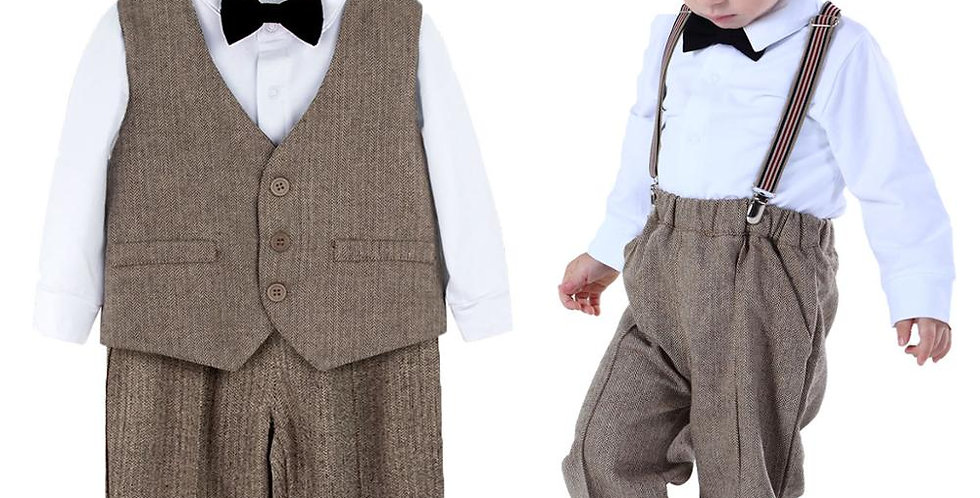 Baby Suit Infant Formal Outfit Gentleman Long Sleeve Overalls Toddler