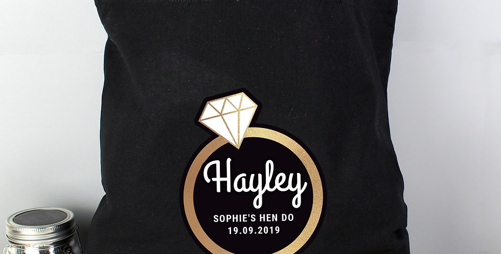 Black Cotton Bag Gold Bling Ring Hen Party