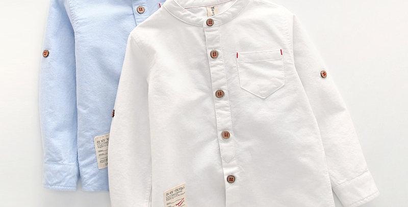 Collar Shirt British Children Solid Cotton