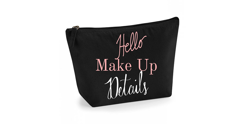 Wedding Personalised Accessory Bag Hello Make Up Details