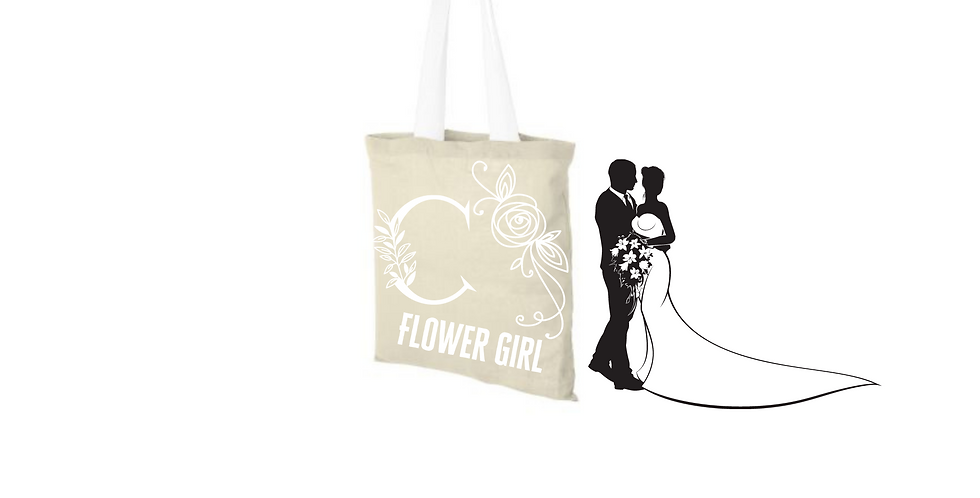 Floral Alphabet Any Letter Initial Personalised Flower Girl Tote Bag