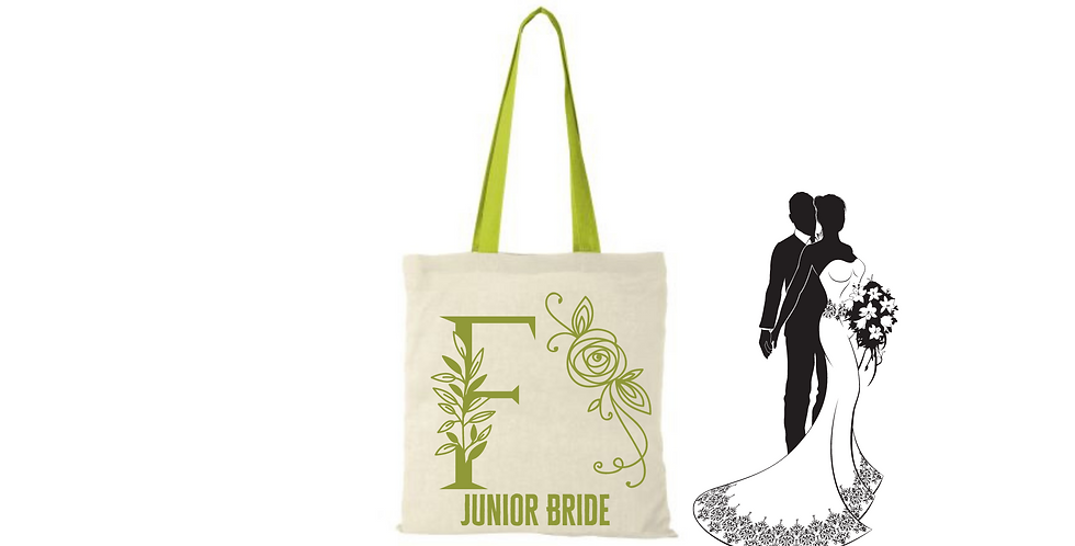 Floral Alphabet Any Letter Initial Personalised Junior BrideTote Bag