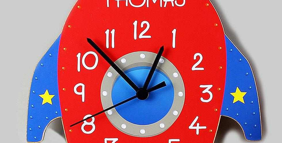 Wooden Clock Personalised Rocket Shape