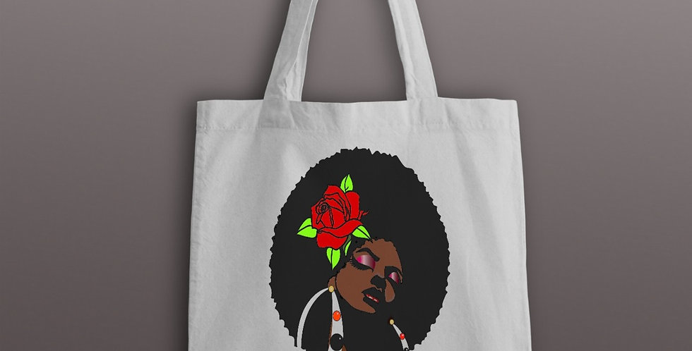 Beautiful Afro Hair Style Cotten Bag