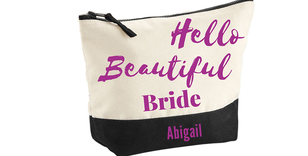 Wedding Personalised Hello Beautiful Bride Accessory Bag