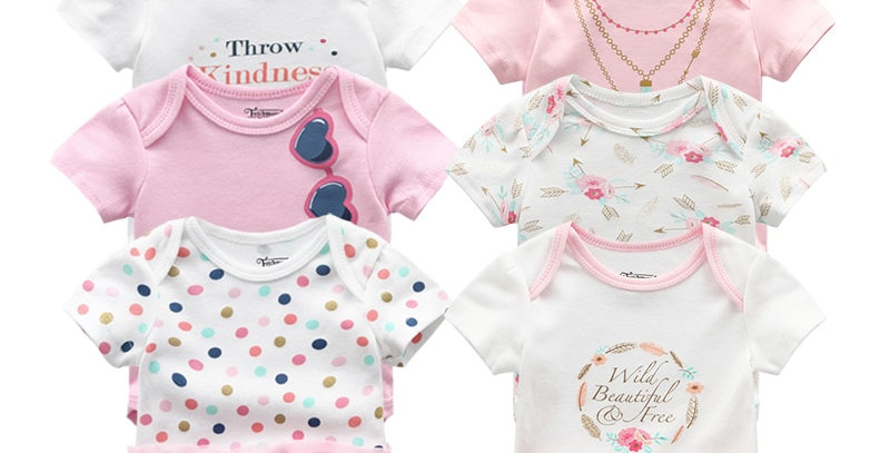 Newborn Bodysuit 8Pcs Cotton Lace Design Printing