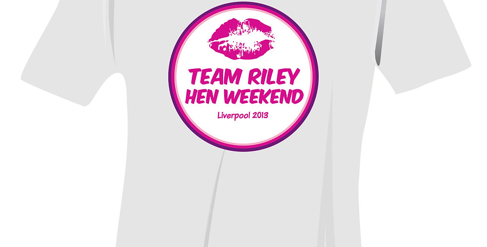 T-Shirt - White - Small Personalised Lips Hen Do