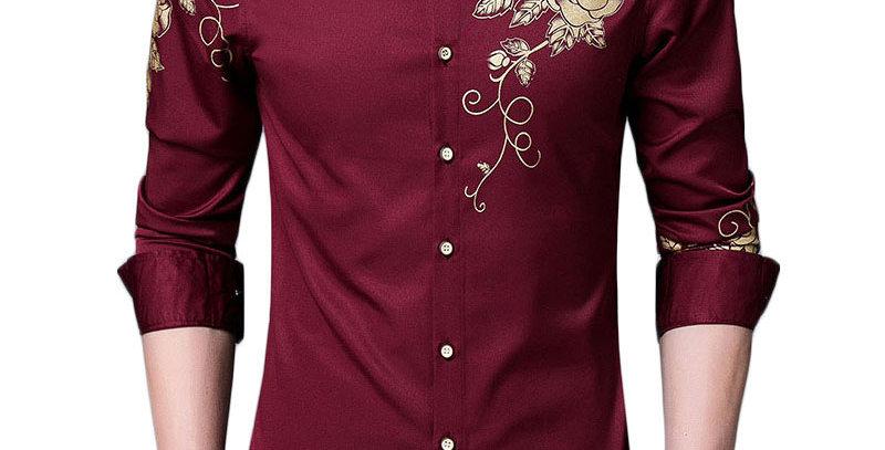 Golden Rose Flower Print Button Down Shirt