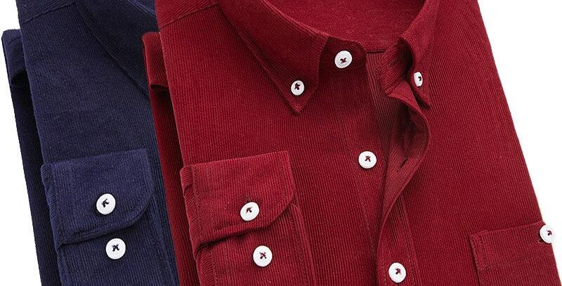 Long Sleeve Slim Fit Brand Corduroy Shirt