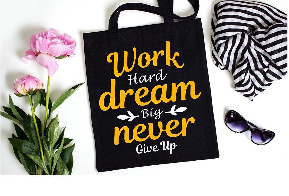 Work Hard Dream Big Cotton Bag
