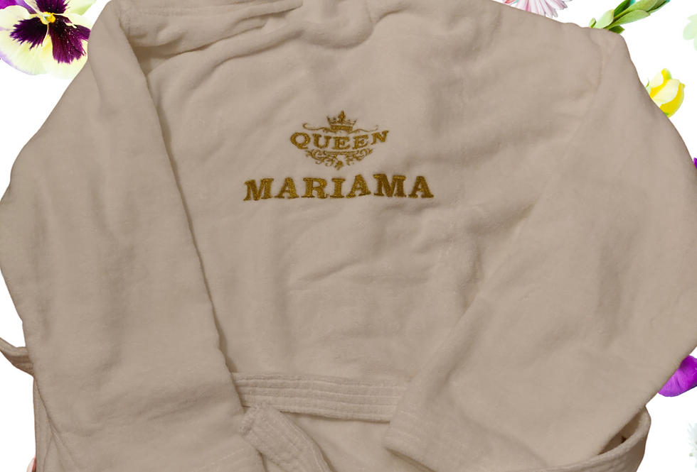 "Personalised Custom Unisex Bathrobe ""Crown"" Embroidery"