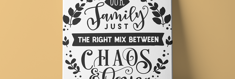 "Our family just the right  8X8""canvas-home décor"