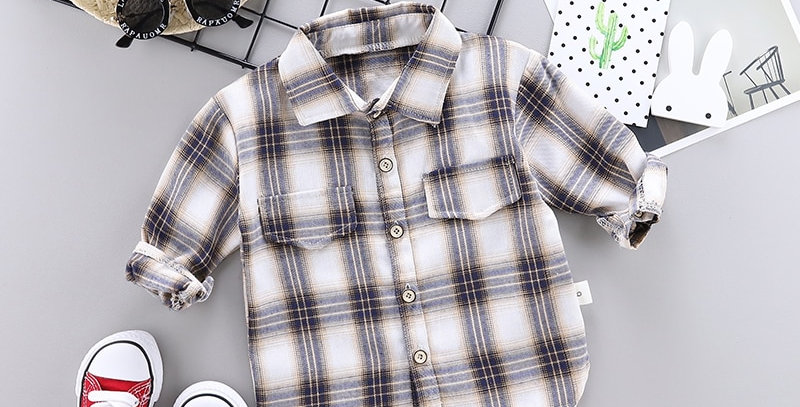 Kids Plaid Shirts Boys Or Girls Long Sleeve Buttons Pocket