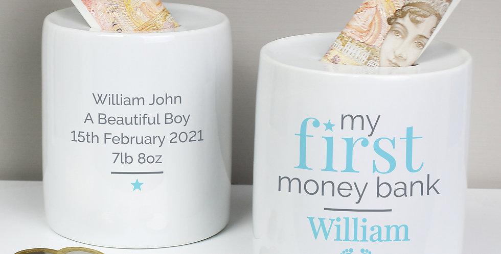 Personalised Blue My First Ceramic Money Box