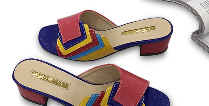 Fashionable and Delicate Patchwork Multi Color Ladies'slippers