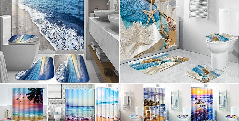 Coastal Beach Scenery Printed Pattern Shower Curtain Pedestal Rug Lid