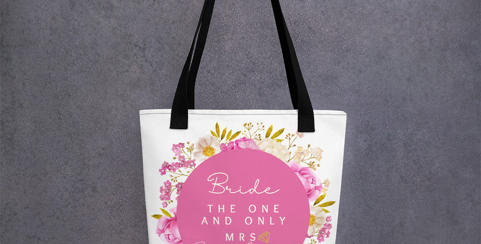 Personalised Wedding Tote bag Bride The One And Only Mrs Roslyn Forever