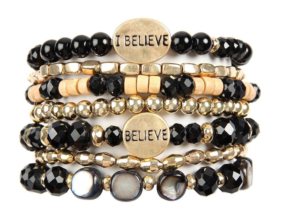 """""""I Believe"""" Charm Mix Beads Bracelet"""