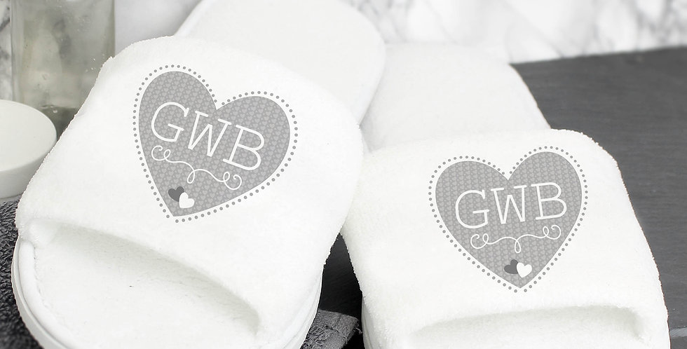 Slippers Personalised Grey Heart Initials Velour
