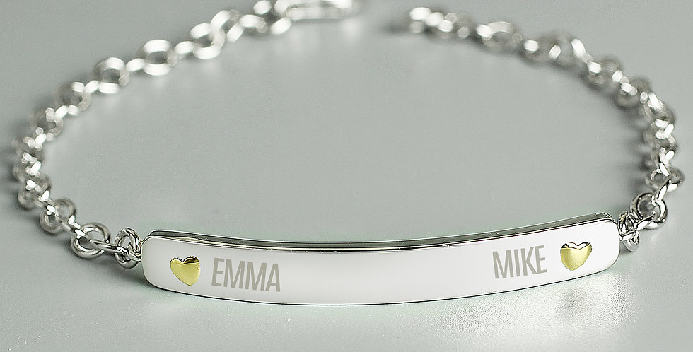 Personalised Two Names Sterling Silver and 9ct Gold Bar Bracelet Personalised T