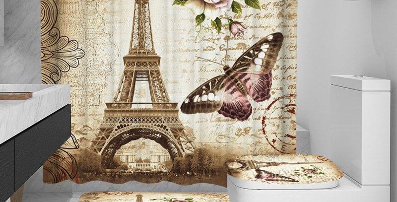 Paris Tower Landscape 3D Waterproof Shower Curtains
