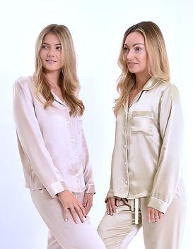 pure silk pyjamas personalised pink and champange