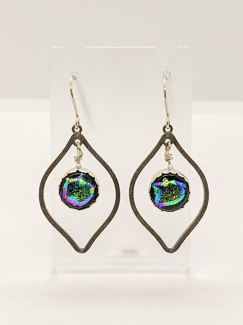 Dichroic & Silver Earrings