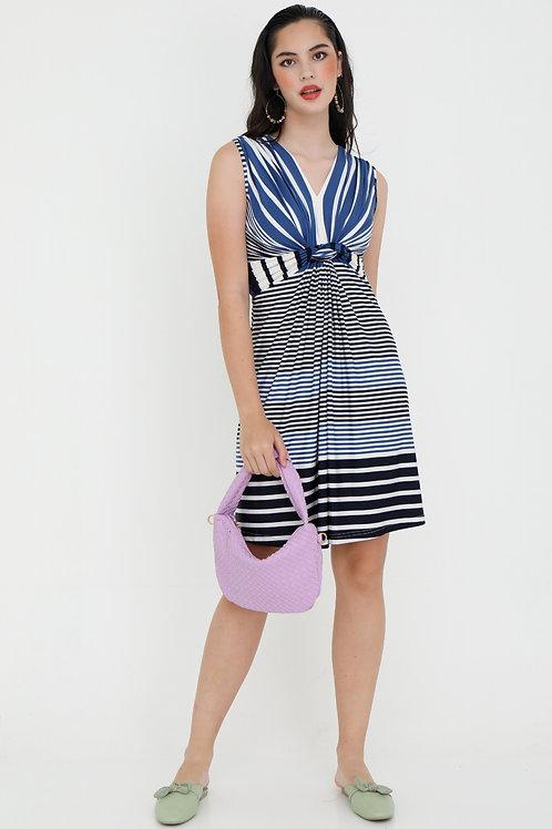 Vincey V Neck Dress in Blue Stripes
