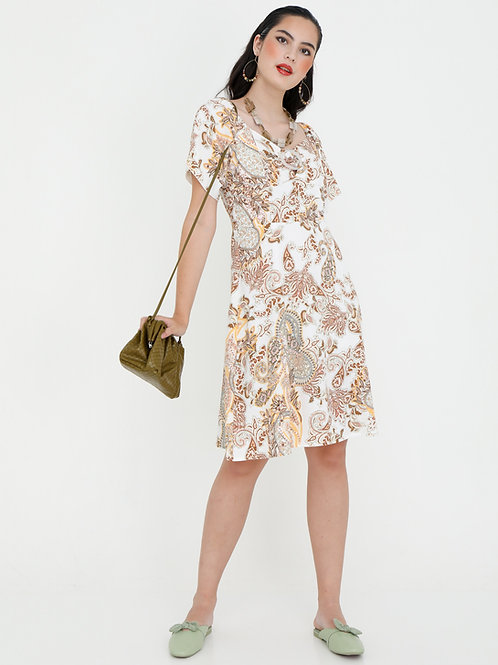 Gia Victorian Scoop Neck Printed Dress with