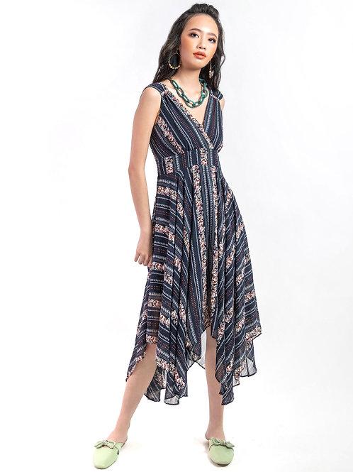 Espa Asymmetric Grecian Printed Dress in Blue
