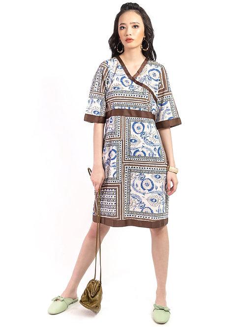 Nevaeh Printed V-Neck Shift Dress
