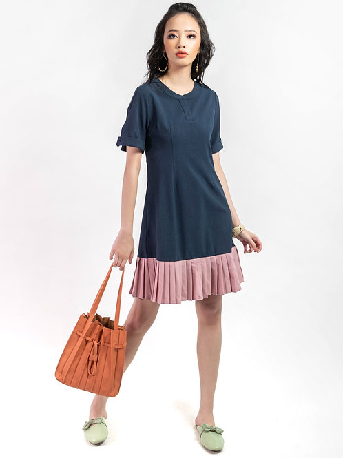 Lindy Navy Dress with Dusty Pink Pleats