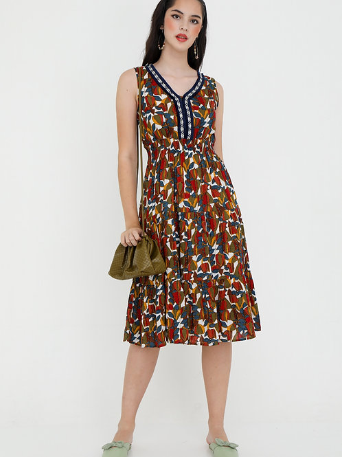 Peroni Printed Dress in Multi Hues