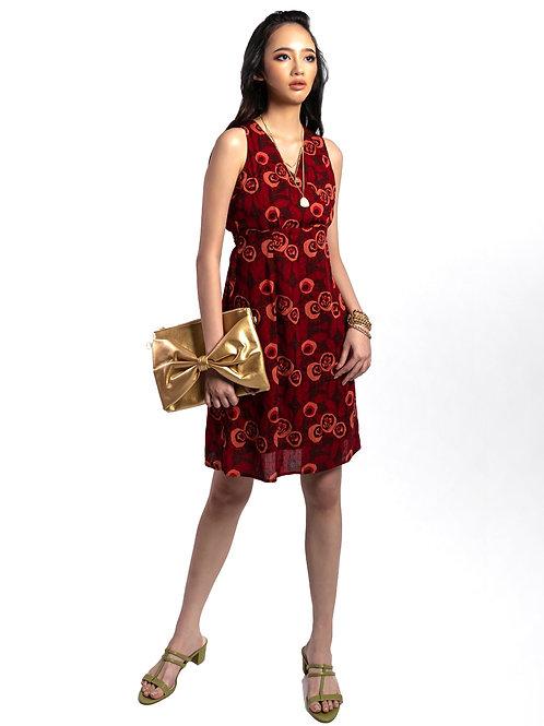 Melrose Wrap V Neck Printed Dress