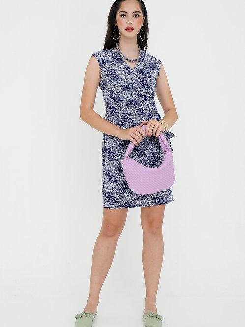 Brocadi Crossed V Neck Dress in Lace Print
