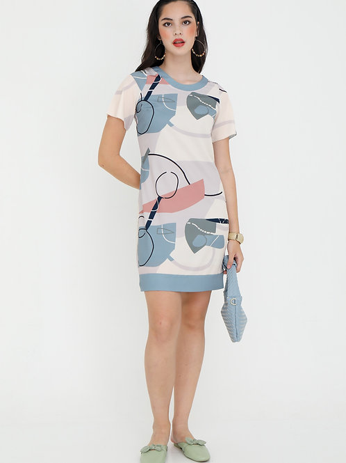 Reilly Printed Shift Dress in Dusty Blue