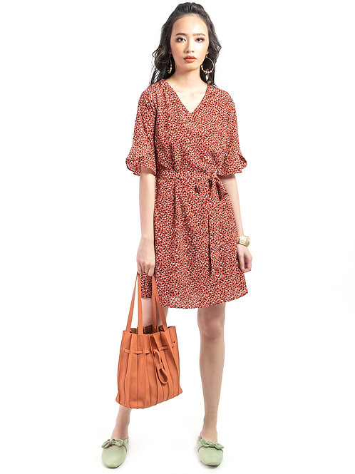 Felicity Printed Dress in Ginger Red