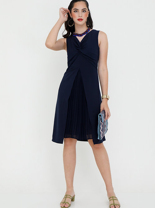 Giselle Dark Navy Dress with Pleats
