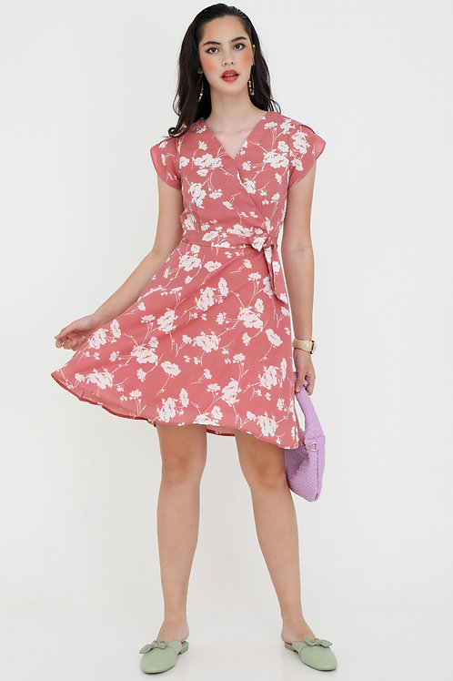 Amelia Printed Wrap Dress in Rose Pink