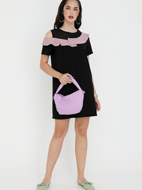 Estella Black Shift Dress with Pink Ruffles