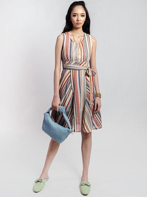 Alaani Sleeveless Multi-Striped A-Line Dress